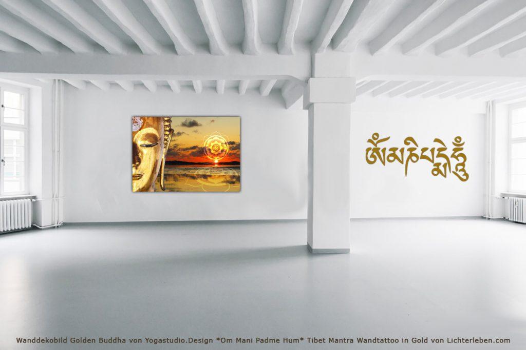 Wanddekobild Golden Buddha von Yogastudio.Design *Om Mani Padme Hum* Tibet Mantra Wandtattoo in Gold von Lichterleben.com