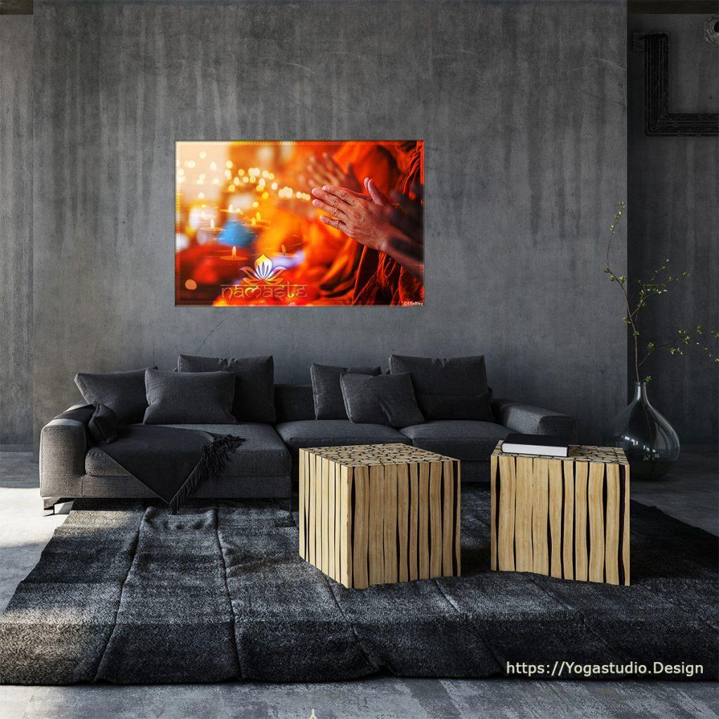 Wanddeko Bild Yogigruss Namaste in Wohlfühlfarben mit Kerzenschein