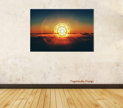 *Wanddeko Sunset Mandala mit Tibetischem OM*