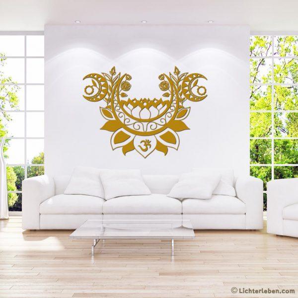 Wandtattoo in Gold Moonlight Lotus Design