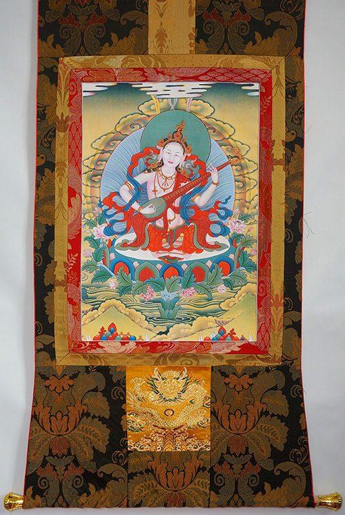 Saraswati Thangka Göttin für Kreativität und Weisheit