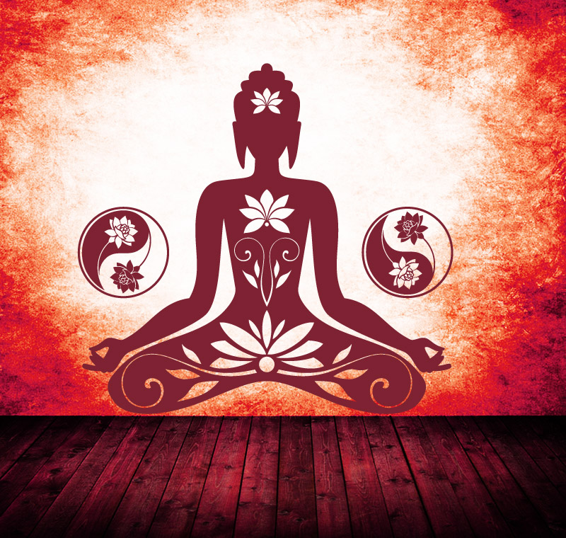 Buddha-Motiv-in-der-Frabe-dunkelrot